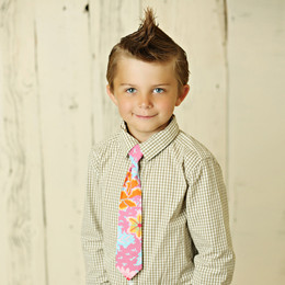 Mustard Pie Summer Magnolia Boy's Neck Tie - Pink