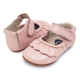 Livie & Luca Ruche Baby Shoes - Light Pink Shimmer