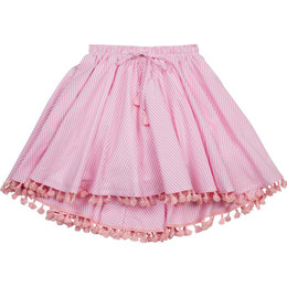 Paper Wings Circle Skirt with Tassles - Pink / Cream Stripe