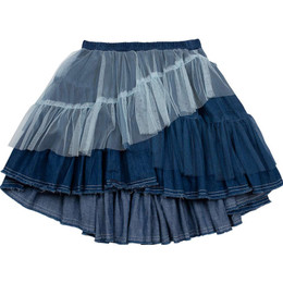 Paper Wings Denim & Tulle Skirt - Indigo