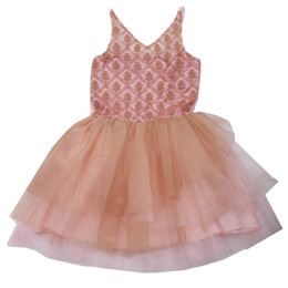 Ooh La La Couture V-Neck Dress - Rose Gold / Pink Parfait