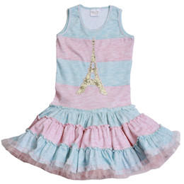 Ooh La La Couture Striped Eiffel Tower Twirly Dress - Pink Parfait / Sky Blue