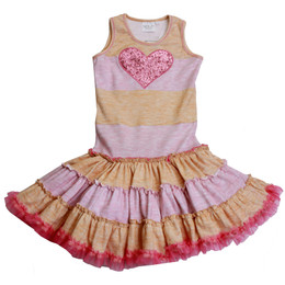 Ooh La La Couture Striped Heart Twirly Dress - Honey / Pink Parfait