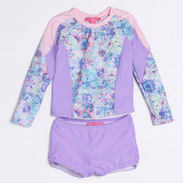 Isobella & Chloe Lana De Flores 2pc Rashguard Swimsuit - Lilac