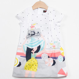 Catimini Floride 50's Pop Graphique Woven Shift Dress