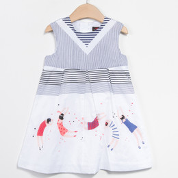 Catimini Paris Est Une Fete Graphic City Dress - Blanc
