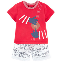 Catimini Paris En Fete Graphic City Garcon 2pc Top & Shorts Set - Rouge