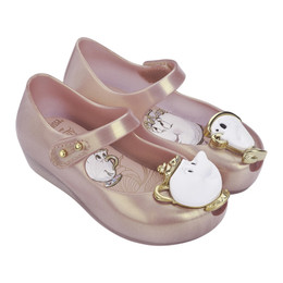 Mini Melissa Ultragirl Beauty and The Beast Shoes - Metallic Pink