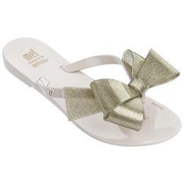 Mel By Melissa Harmonic Bow III Flip Flops - Beige Gold Glitter