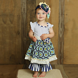 Mustard Pie Secret Garden Olivia Dress Set - Navy