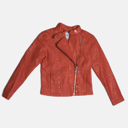 Mayoral Faux Leather Studded Jacket - Watermelon