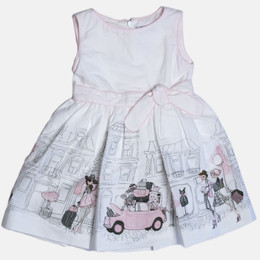 Mayoral Street Shop Dress - White / Orchid Pink
