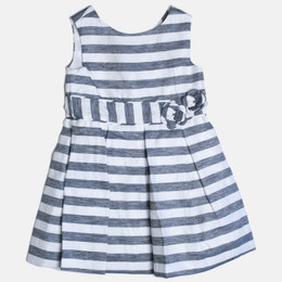 Mayoral Striped Linen Dress - Navy / White