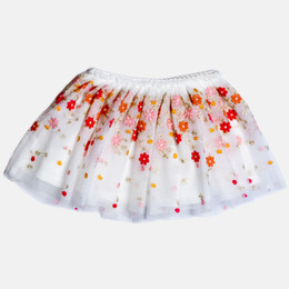 Mayoral Embroidered Floral Tulle Skirt - Apricot