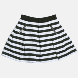 Mayoral Striped & Pleated Skirt - Black