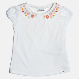 Mayoral Embroidered Floral Top - White
