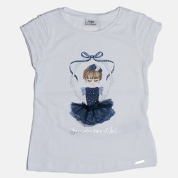 Mayoral Beautiful Girl S/S Top - White