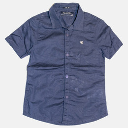 Mayoral Linen Buttondown S/S Shirt - Navy