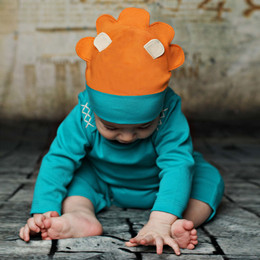 Lemon Loves Lime Layette Lion Hat - Teal Green