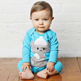 Lemon Loves Lime Layette Cuddly Elephant Romper - Blue Button
