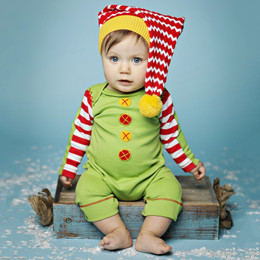 Lemon Loves Lime Holiday Happy Elf 2pc Romper & Hat Set - Greenery
