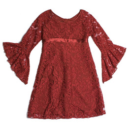 Biscotti Luxe Lace Raglan Sleeve Dress - Red