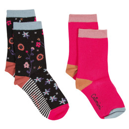 Catimini Graphic Floral Ma De Moizele Socks - 2 pairs - Dotted