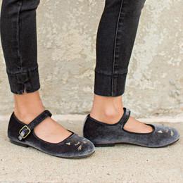 Joyfolie Liv Velvet Mary Jane Shoes - Black Kitten