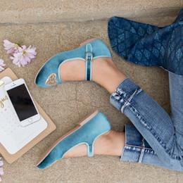 Joyfolie Liv Velvet Mary Jane Shoes - Teal Heart