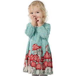 Paper Wings Mushroom Border Pleated Smock Dress