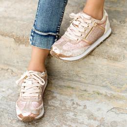 Joyfolie Ari Velvet Sneaker - Rosegold
