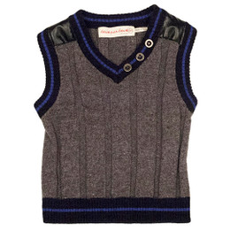 Deux Par Deux Petit Gentleman Knit Vest - Grey Mix