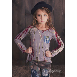 Jak & Peppar Wild Hearts High Low Destroyed Slub Knit Top - Burgundy Dazed