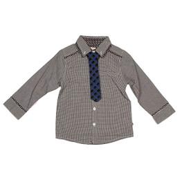 Deux Par Deux Petit Gentleman 2pc Shirt w/Tie - Grey