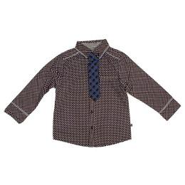 Deux Par Deux Petit Gentleman 2pc Shirt w/Tie - Anthracite