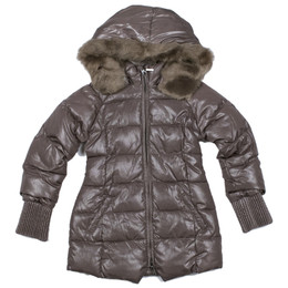Mayoral Faux Fur Hooded Sparkling Puffer Jacket - Cafí«_