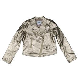 Mayoral Faux Metallic Leather Asymmetric Zip Jacket - Champan