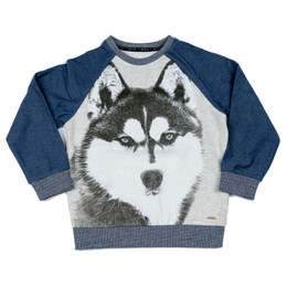 Mayoral Great Wolf Fleece Lined Pullover - Denim