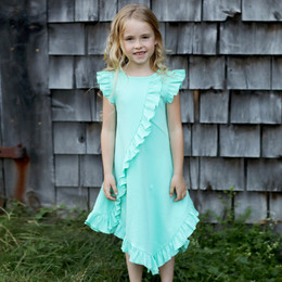 Lemon Loves Lime Woodland Play Frilly Dress - Cabbage