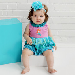 Lemon Loves Lime Layette Little Mermaid Bubble Romper