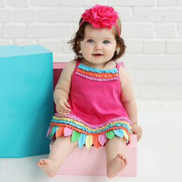 Lemon Loves Lime Layette Rainbow Shine Dress