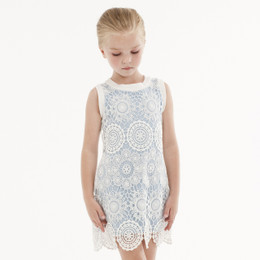 Biscotti Crazy For Crochet Shift Dress - Ivory/Blue