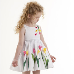 Biscotti Tulip Time Flower Dress - White