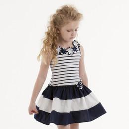 Kate Mack Daisy Crew Drop Waist Sleeveless Dress - Navy/White