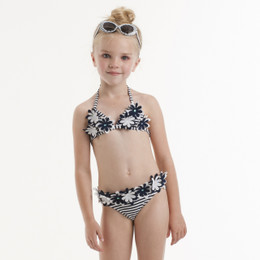 Kate Mack Daisy Crew Swim Bikini - Navy/White