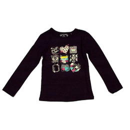 Deux Par Deux Dear Deer Friend Printed Top - Anthracite