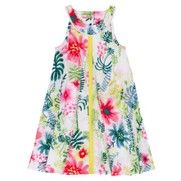 Deux Par Deux Flamingo Edit Woven Dress - Foliage Print