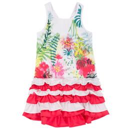 Deux Par Deux Flamingo Edit Flounce Dress - Foliage Print