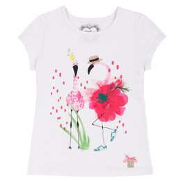 Deux Par Deux Flamingo Edit Printed Tee - White