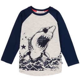 Deux Par Deux Pirates In The Zone Raglan Tee - Navy